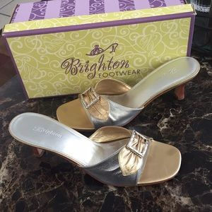 Shoes - Brighton slip on heels. Gold:silver tone.